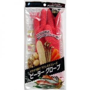 日本LINNUOJIA琳诺佳 蔬菜去皮手套搓土豆芋头刮鱼鳞剥皮 家务清洁工具 蔬菜去皮手套 红色右手用单只