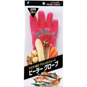 日本LINNUOJIA琳诺佳 蔬菜去皮手套搓土豆芋头刮鱼鳞剥皮手套 家务手套 粉色左手用单只