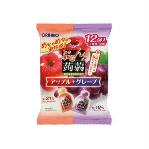 日本ORIHIRO 蒟蒻果冻水果味魔芋低卡布丁 #苹果+葡萄 12枚入