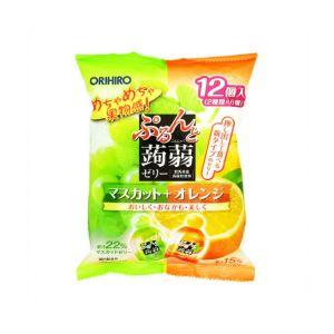 日本ORIHIRO 果冻果汁立喜乐超低卡路里蒟蒻水果果冻(青葡萄+香橙)12枚入