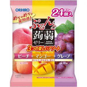 日本ORIHIRO 果汁蒟蒻可吸果冻 水蜜桃芒果葡萄味 24个