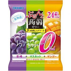 日本ORIHIRO 果汁蒟蒻可吸果冻 青提芒果葡萄味 24个*18G