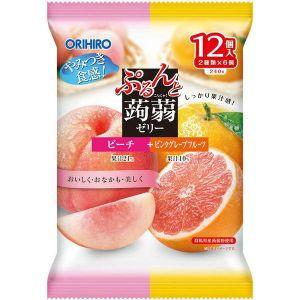 日本ORIHIRO 低卡纤体蒟蒻果冻 白桃粉红葡萄柚味 12枚 240G