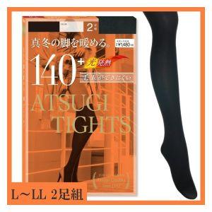 ATSUGI TIGHTS Hot Tights 140 Denier Size L-LL Black 2 pieces