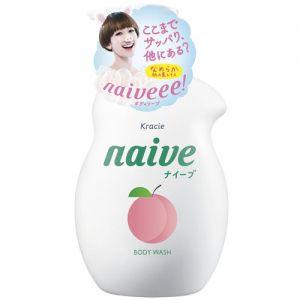 日本KRACIE嘉娜宝 NAIVE 纯植物性润泽沐浴乳 白桃款 530ml