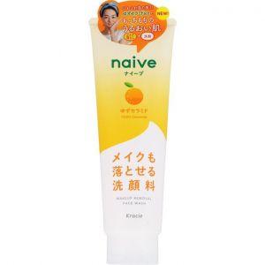 日本嘉娜宝naive植物性洗面奶卸妆二合一 柚子/200g