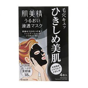 日本KRACIE嘉娜宝 肌美精 深层渗透清理毛孔黑面膜 4片入