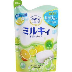 GYUNYU COW BRAND MILKY BODY SOAP YUZU SCENTED REFILL 400ML