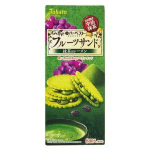 日本TOHATO桃哈多 HARVEST抹茶味葡萄干夹心饼干 8枚 108G