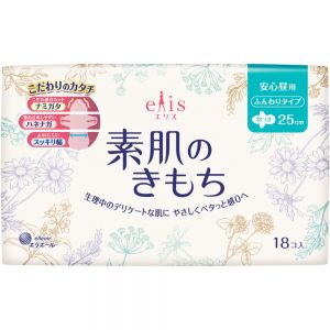 日本进口大王elis超薄透气日用卫生巾 棉柔亲肤无荧光姨妈巾250mm 18片
