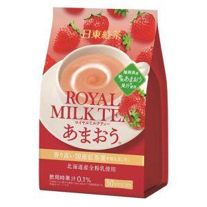 日本NITTO日东红茶 北海道速溶奶茶 福冈草莓味 10条*14G