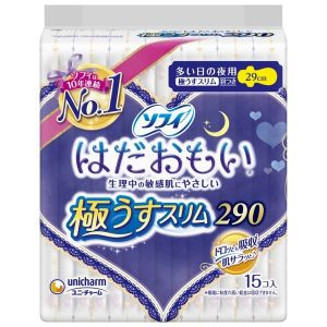日本UNICHARM 苏菲敏感专用夜用卫生棉 29cm 15枚入
