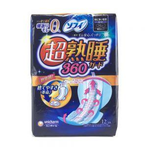 日本苏菲卫生巾夜用360mm超熟睡加长棉柔月经棉12片