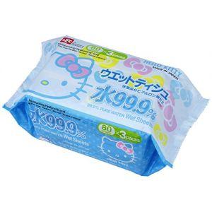 日本LEC HELLO KITTY 99.9%纯水超润肤湿纸巾 含保湿透明质酸 80片*3包入