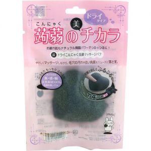 日本LUCKY TRENDY 蒟蒻心型洁面扑 黑炭洁肤