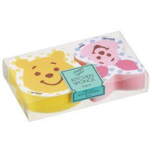 日本SKATER卡通两层构造去污起泡厨房海绵 两个装 黄色+蓝粉色