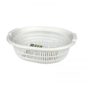 日本INOMATA 洗菜篮沥水篮 厨房洗菜篮子家用多功能圆形洗菜盆水果篮 #白色