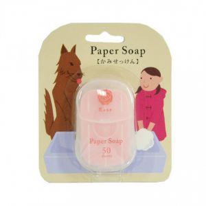 日本CHARLEY 便携洗手纸香皂 #玫瑰 50枚入
