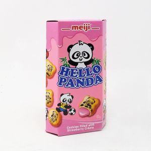 日本MEIJI明治 熊猫草莓奶油夹心饼干 60G