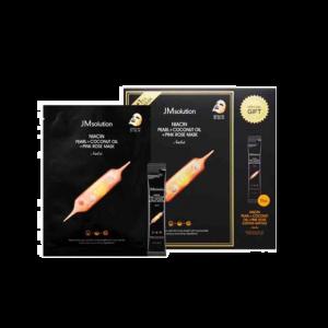 韓國 JM solution 珍珠玫瑰椰子油烟酰胺亮肤 面膜11片 送睡眠安瓶
